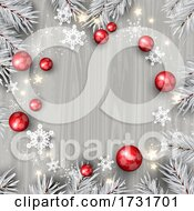 Poster, Art Print Of Decorative Christmas Background With Decorations On Wooden Texture