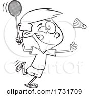 Cartoon Boy Playing Badminton