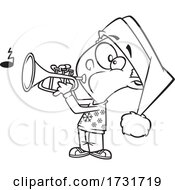 Cartoon Boy Playing Christmas Music With A Trumpet