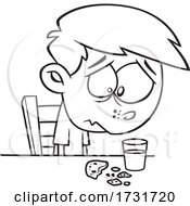 Cartoon Boy Sadly Looking At A Crumbled Cookie