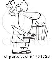 Cartoon Guy Holding A Gift