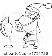 Cartoon Christmas Santa Claus Wearing A Mask And Ringing A Bell