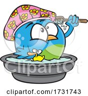 Cartoon Bird Bathing
