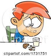 Cartoon Boy Sadly Looking At A Crumbled Cookie by toonaday