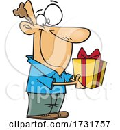 Cartoon Guy Holding A Gift
