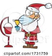 Cartoon Christmas Santa Claus Wearing A Mask And Ringing A Bell