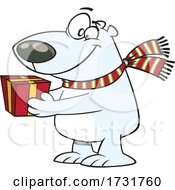 Cartoon Polar Bear Giving A Gift
