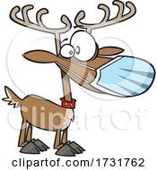 Cartoon Christmas Reindeer Waring A Face Mask