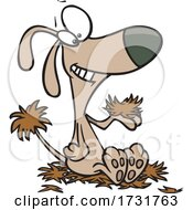 Cartoon Dog Grinning And Shedding