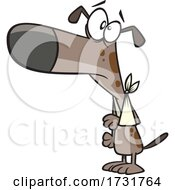 Cartoon Dog Wearing A Sling by toonaday