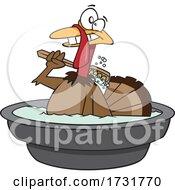 Cartoon Happy Turkey Bird Taking A Bath
