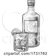 Lime Lemon And Ice Glass Drink And Bottle by AtStockIllustration