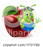 Book Worm Apple Cartoon by AtStockIllustration