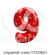 Snowflake Number 9 3d Christmas Digit Suitable For Christmas Santa Claus Or Winter Related Subjects by chrisroll