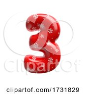Snowflake Number 3 3d Christmas Digit Suitable For Christmas Santa Claus Or Winter Related Subjects by chrisroll