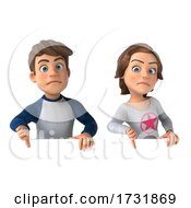 Poster, Art Print Of 3d Casual Young Couple On A White Background