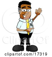 Black Businessman Mascot Cartoon Character Waving And Pointing To The Right