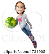 Poster, Art Print Of 3d Casual Young Woman On A White Background