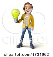 Poster, Art Print Of 3d Casual Young Woman In Rain Gear On A White Background