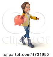 3d Casual Young Woman In Rain Gear On A White Background