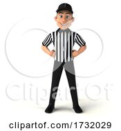 3d White Male Referee On A White Background