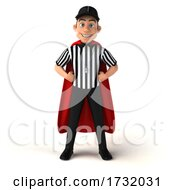 3d Super White Male Referee On A White Background