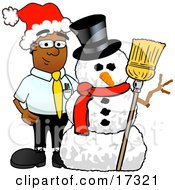 Black Businessman Mascot Cartoon Character With A Snowman On Christmas