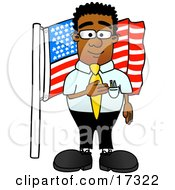Patriotic Black Businessman Mascot Cartoon Character Pledging Allegiance To An American Flag