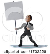 3d Black Businessman On A White Background