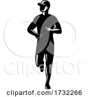 Silhouette Of Country Marathon Runner Running Front View Retro Black And White