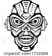 Poster, Art Print Of Angry Iron Skull Robot Or Android Viewed From Front Mascot Retro Black And White Style