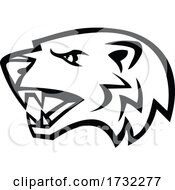 Angry North American Badger Head Side View Mascot Black And White