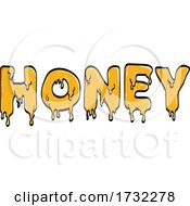 Word Or Text Of Honey Slowly Dripping And Liquified Line Art Drawing