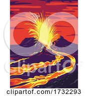 Hawaii Volcanoes National Park With Active KLauea Volcano United States WPA