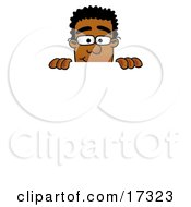 Black Businessman Mascot Cartoon Character Peeking Over a Surface
