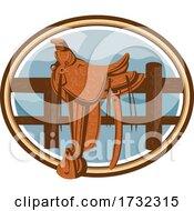 Western Saddle Old Style Oval Retro by patrimonio #COLLC1732315-0113