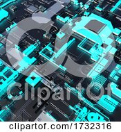3d Glowing Blue Technical Quantum Computer Circuit Board With Inegrated Chips