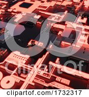 3d Glowing Orange Technical Quantum Computer Circuit Board With Inegrated Chips