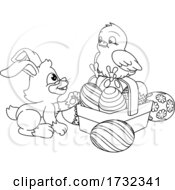 Easter Eggs Bunny And Chick Coloring Book Cartoon