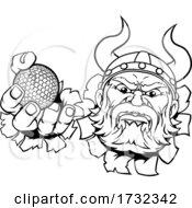 Viking Golf Ball Sports Mascot Cartoon