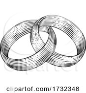 Wedding Rings Bands Intertwined Vintage Woodcut