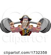 Pirate Weight Lifting Barbell Cartoon Mascot