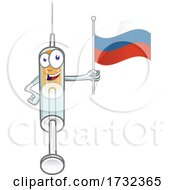 Vaccine Syringe Mascot Character Holding A Russian Flag