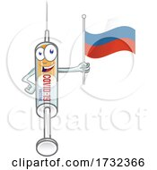 Covid 19 Syringe Vaccine Mascot Character Holding A Russian Flag