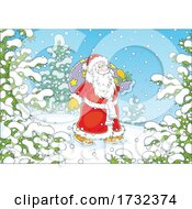 Santa Claus Carrying A Sack In The Snow