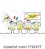 Stick French People Protesting And Wearing Safety Vests