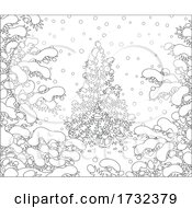 Poster, Art Print Of Tiny Santa Claus Under A Christmas Tree In The Snow