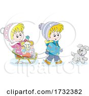 Poster, Art Print Of Children Going Sledding