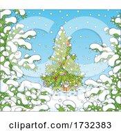 Tiny Santa Under A Christmas Tree In The Snow