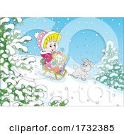 Poster, Art Print Of Puppy Watching A Girl Sledding